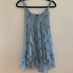 Abercrombie & Fitch Blue Floral Ruffle Dress
